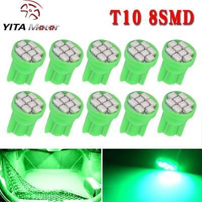10X Green T10 Wedge 8-SMD LED Dome Map Door Interior Light Bulb W5W 192 194 2825