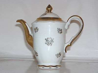 Vintage Hutschenreuther Selb 24-K Gold Trim and Decorated Hibiscus Flower Teapot