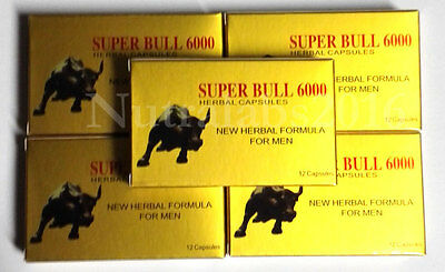 Super Bull 6000 - 60 Pills - 5 Boxes Herbal Male Enhancement Pill Like Rhino 7