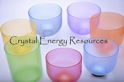 "Chakra-Tuned-Set-of-7-Color-Clear-Quartz-Crystal-Singing Bowl 6""-10"""