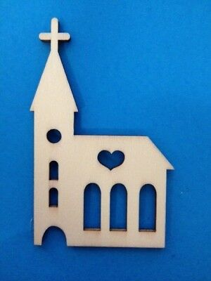 5 Natural Wooden Church Religious Card Making Scrapbook Craft Embellishments