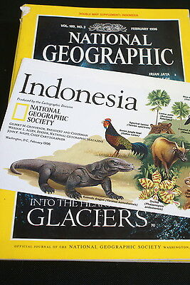 National Geographic Magazine Feb 1996 Includes Indonesia  Map Supplement