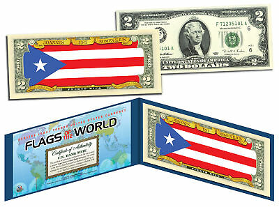 PUERTO RICO - Flags of the World Genuine Legal Tender U.S. $2 Bill Currency