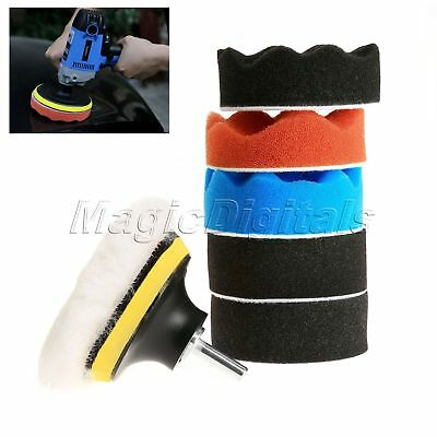 "8Pcs 3"" Polishing Buffing Woolen Buffer Pad + M10 Adapter For Car Polisher Tools"