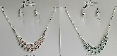 NEW Kids Girls #1133 Double Strand Necklace Dangle Earring Fashion Jewelry Set