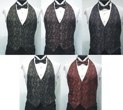 3 Tone Paisley Open Back/Backless Formal Adult Vest and Matching Bow Tie