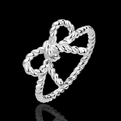 925Sterling Silver Jewelry Lovely Wrest Rope Knot Women Ring Size 7 8  RB611