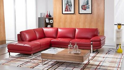 Outstanding 2 Pc Modern Red Italian Top Grain Leather Sectional Sofa Caraccident5 Cool Chair Designs And Ideas Caraccident5Info