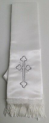 NEW Boys Communion Baptism Confirmation White Satin Silver CROSS Shawl Scarf
