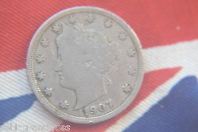 1907 UNITED STATES OF AMERICA  Liberty Nickel 5 Cents  U.S COIN