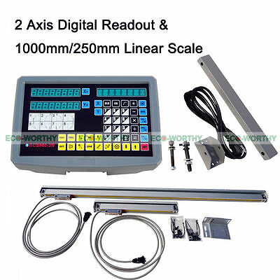 2 Axis Digital Readout DRO Display & TTL Linear Scale Travel Kit for Mill Tool