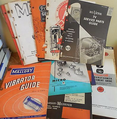 Wonderful 1950's hoard of 15 parts catalogs for radio, TV - 600+ pages -See Pics