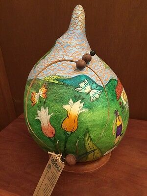 "Beautiful TARRALI 13"" Tall Primitive Christmas Nativity Hand Painted Gourd"