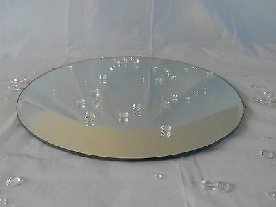 "Sets 20 cm 8"" Round Bevelled Edge Mirror Glass Candle Plate Wedding Centre Piece"