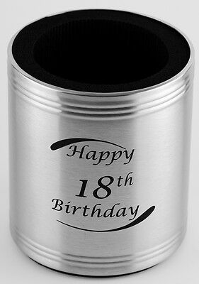18th Birthday Stainless Steel Can Cooler - Stubby Holder - Engravable - Gift