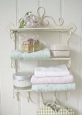 Shabby Chic Metal Wall Shelf Hook Storage Display Kitchen Bathroom Vintage Style