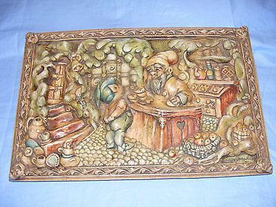 Pendelfin Stoneware Original 1953  Fairy Shop Wall Plaque Burnley Rare Signed