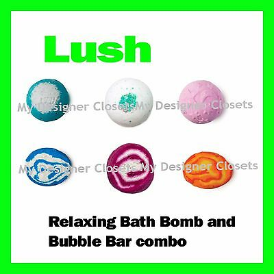 Lush Cosmetics Relaxing Bath Bomb and Bubble Bar Combo - Relax,DeStress,Refresh