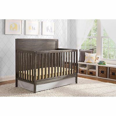 Convertible Crib 4in1 Rustic Grey Wood Child Bedroom Nursery Toddler Bed Daybed