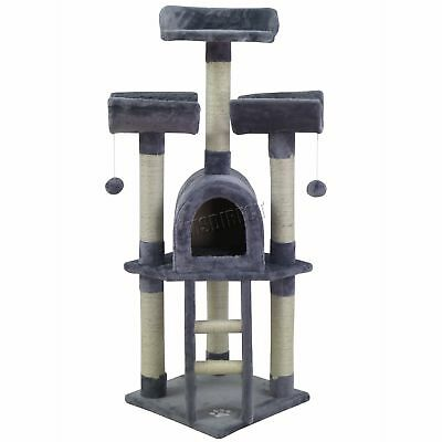FoxHunter Cat Tree Scratching Post Scratch Centre Bed Toys Scratcher M003 Grey
