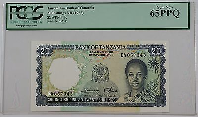 (1966) Bank of Tanzania 20 Schillings Note SCWPM# 3e PCGS 65 PPQ Gem New