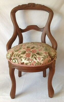 Antique Victorian Carved Back Side Chair Walnut w Chenille Upholstered Seat