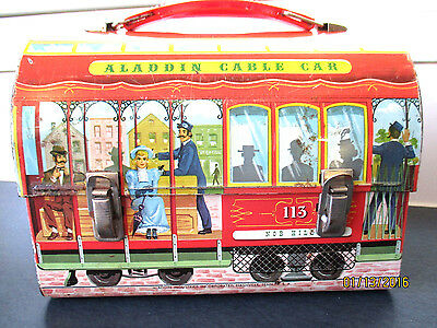 Beautiful  1962 ALADDIN CABLE CAR DOME METAL LUNCHBOX FREE SHIPPING