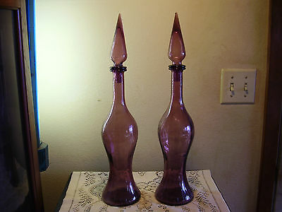 2 Amethyst Glass Handblown Paneled 19 inch Decanters
