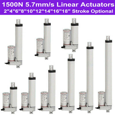 "2""-18"" Inch Stroke Linear Actuator 1500N/330lbs Pound Max Lift 12V Volt DC Motor"
