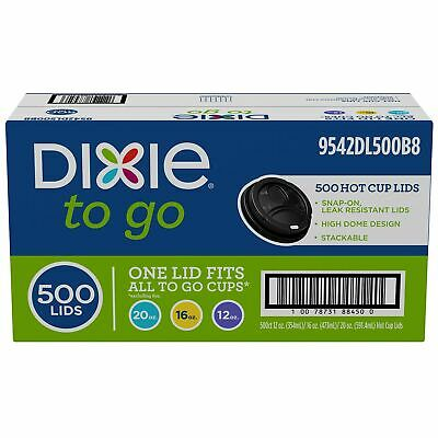Dixie PerfecTouch Domed Hot Coffee Cup Plastic Beverage Black Lids 20 oz. 500 ct