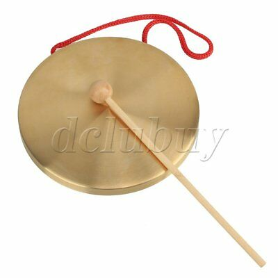 Orff Percusses Props 15.5cm Dia Brass Copper Hand Gong With Round Play Hammer