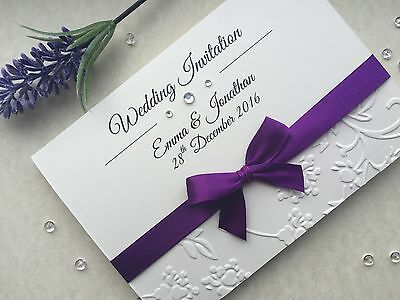 Wedding or Evening Invitations - Handmade - Personalised - Embossed - S7
