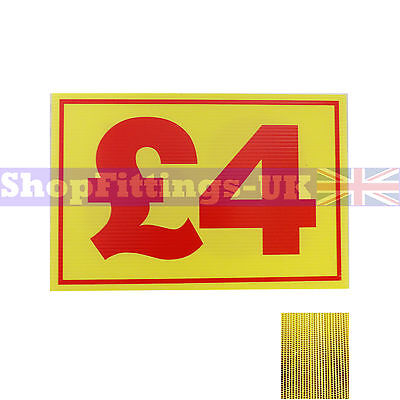 £4 Market Trader Correx Price Card Sign Board for Retail display,Market Stalls