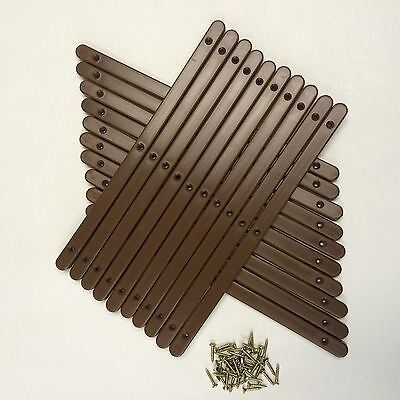 10 Pairs of Brown Plastic Drawer Runners & Screws for Furniture