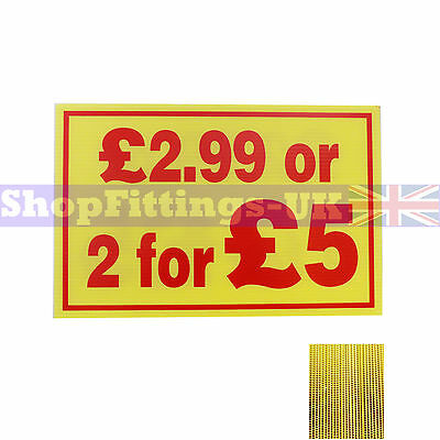 £2.99 or 2 for £5 Market Trader Correx Price Card Sign Board for Retail display