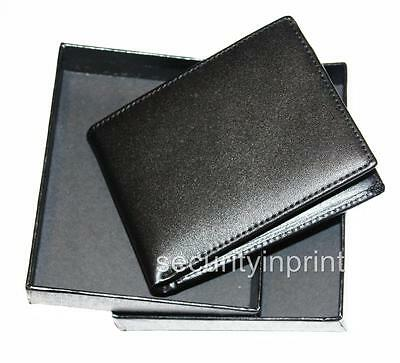 Slim RFID-Blocking Bi-fold Black Leather Wallet in Attractive Presentation Box