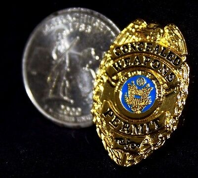 """Concealed Weapons Carry Permit CWP CCP GOLD Mini Badge Lapel Tie Tac Pin 1"""" XHAT"""