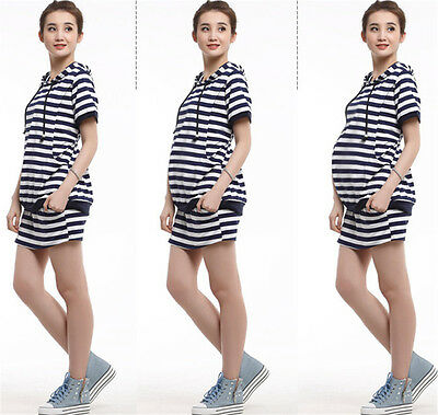 Pregnant Women Clothes Striped Breastfeeding Hooded Suit Tops Skirt