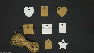 100pcs Brown/White Craft Paper Hang Tags Label Wedding Party Scallop Cards