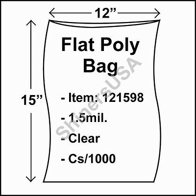 1000 1.5-Mil 12x15 Clear Poly Bag Open Top Lay Flat Packaging 121598