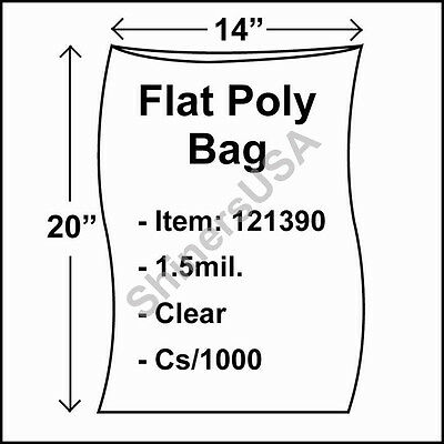 1000 1.5-Mil 14x20 Clear Poly Bag Open Top Lay Flat Packaging 121390