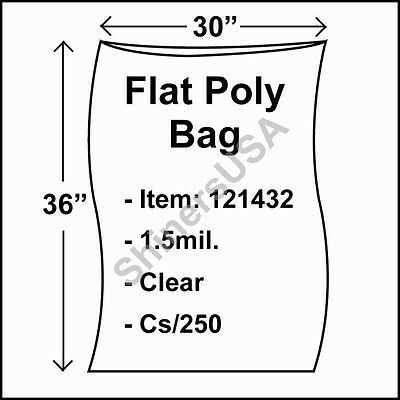 250 1.5-Mil 30x36 Clear Poly Bag Open Top Lay Flat Packaging 121432