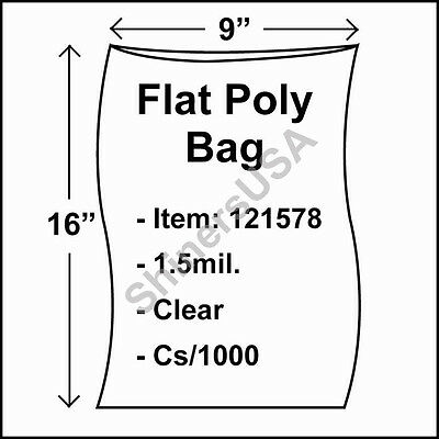 1000 1.5-Mil 9x16 Clear Poly Bag Open Top Lay Flat Packaging 121578
