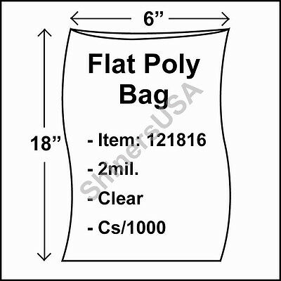 1000 2-Mil 6x18 Clear Poly Bag Open Top Lay Flat Long Packaging 121816