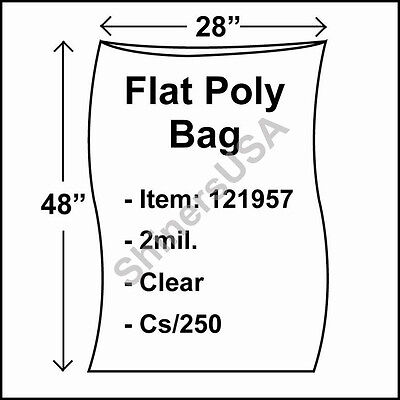 250 2-Mil 28x48 Clear Poly Bag Open Top Lay Flat Packaging 121957