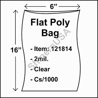 1000 2-Mil 6x16 Clear Poly Bag Open Top Lay Flat Packaging 121814