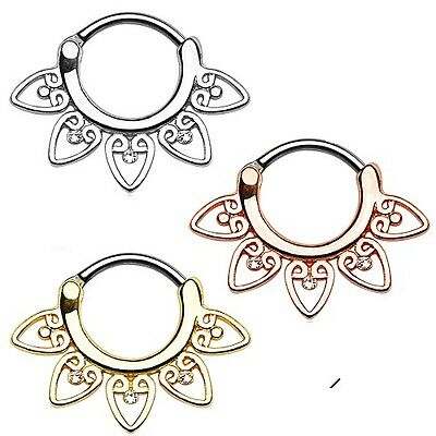 New Surgical Steel Gold Plated Rose Gold Tribal Fan Nose Septum Clicker 16g 14g