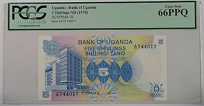 (1979) Bank of Uganda 5 Schillings Note SCWPM# 10 PCGS 66 PPQ Gem New (B)