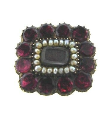 WOW 9k Yellow Gold, Pearl, Garnet & Natural Hair Mourning Brooch Circa 1900s