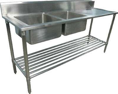 600x2200mm NEW COMMERCIAL DOUBLE BOWL KITCHEN SINK #304 STAINLESS STEEL BENCH E0